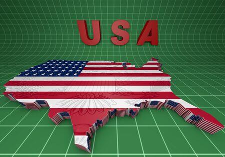 u.s. flag: USA. mapped flag in 3D Illustration politics and patriotism.