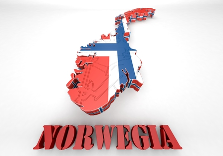 3d map illustration of Norway with Flag illustration