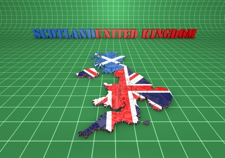 shire: 3D map illustration of Scotland and England with flag
