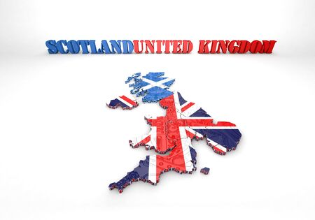 liverpool: 3D map illustration of Scotland and England with flag