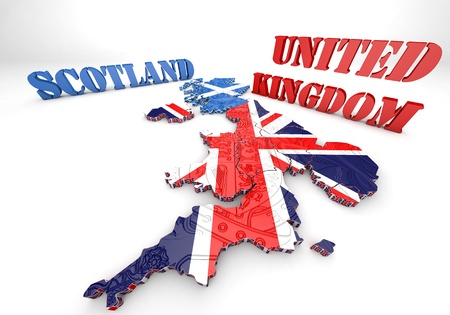 3D map illustration of Scotland and England with flag illustration