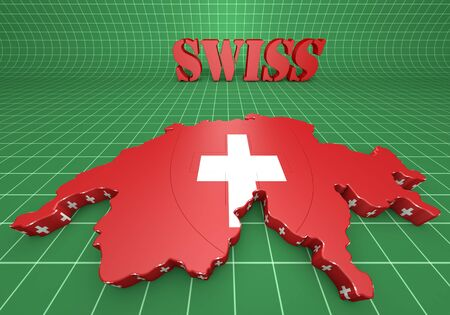 3D Map illustration of Switzerland with flag illustration