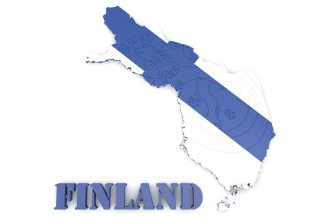 illustratin: 3D map illustratin of Finland with flag and coat of arms