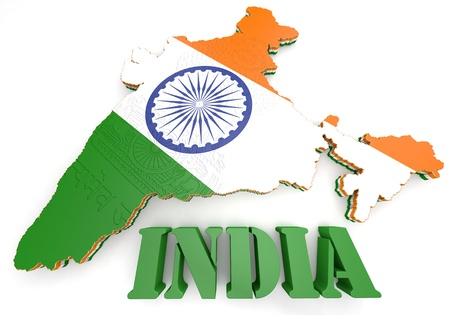 east indian: 3d Map illustration of India with flag and  coat of arms Stock Photo