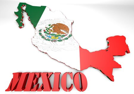 3d map illustration of Mexico with flag and coat of arms illustration