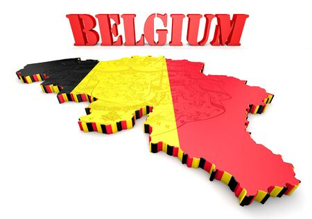 3D map illustration of Belgium with flag and coat of arms illustration