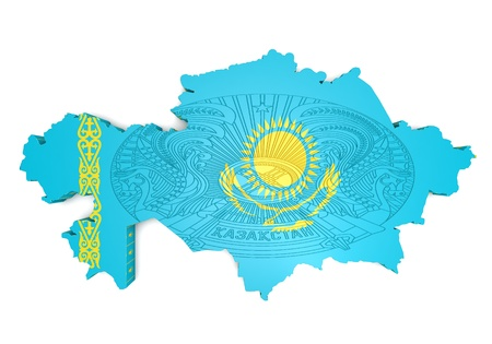 kazakhstan: 3d map illustration of Kazakhstan with flag and coat of arms