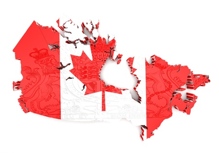 Map of Canada with flag colors. 3d render illustration. illustration