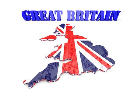 eire: 3D Illustration of United Kingdom map with as Flag Stock Photo