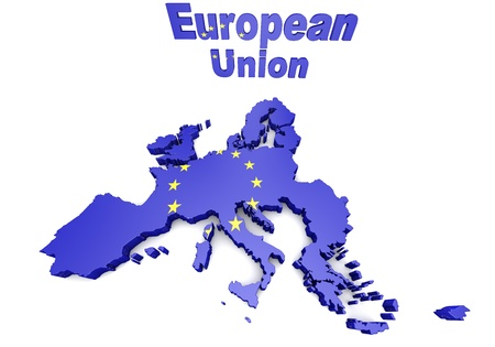 council: Map of European countries business 3d illustration Stock Photo