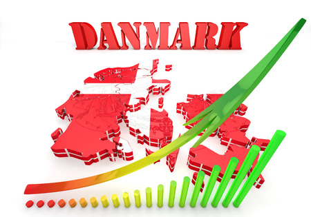 3d map illustration of Denmark with flag and coat of arms illustration