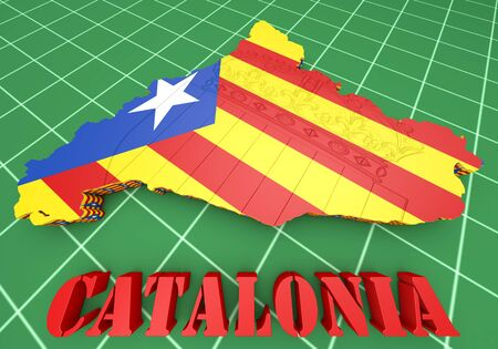 the borderline: 3d map illustration of Catalonia with flag and coat of arms Stock Photo