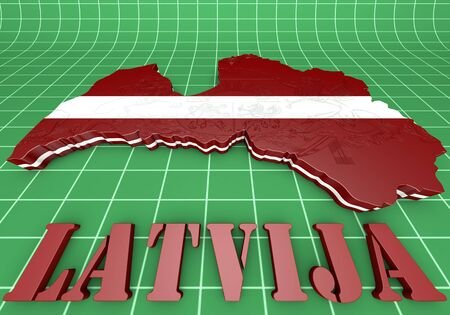 3D Illustration  Map of Latvia  and latvian Flag illustration
