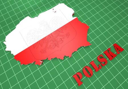 3D Map illustration of Poland with flag and coat of arms illustration