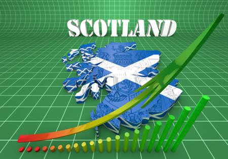 paraphernalia: 3D map illustration of Sctotland with flag