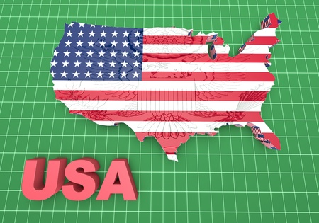 u s  flag: USA. mapped flag in 3D Illustration politics and patriotism.