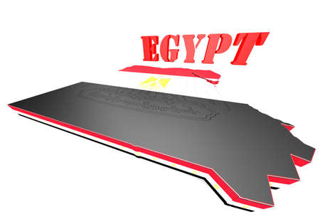 3d Map illustration of Egypt with map and coat of arms illustration