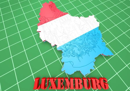 3D Map illustration of Luxembourg with flag and coat of arms illustration