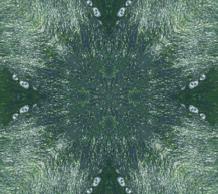 Green Ethnic pattern. Abstract kaleidoscope fabric design.