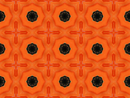 Orange Ethnic pattern. Abstract kaleidoscope fabric design.