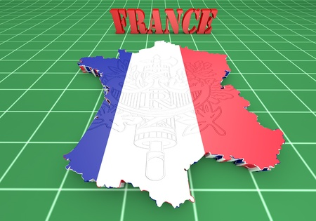 Map of France with flag colors. 3d render illustration. illustration