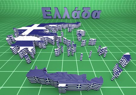 3d map illustration of Greece with flag and coat of arms illustration