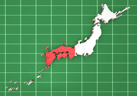 far east: 3d map of Japan with flag and coat of arms