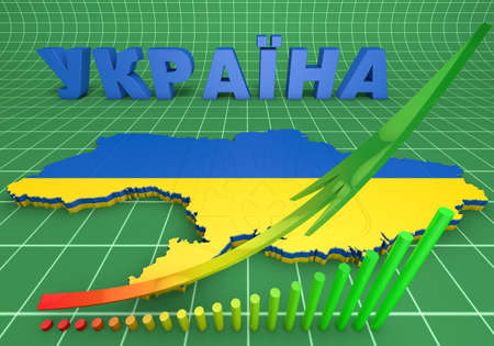3d map illustration of Ukraine with flag and coat of arms