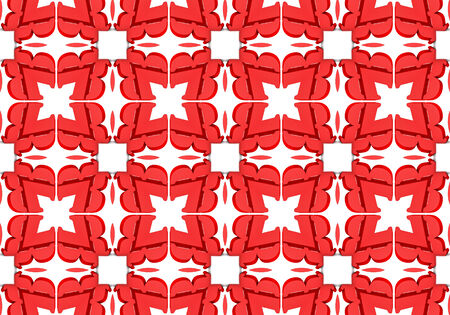red Ethnic pattern. Abstract kaleidoscope fabric design.