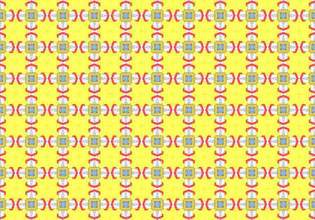 Yellow Ethnic pattern. Abstract kaleidoscope fabric design.
