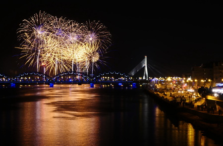 Fireworks in Big Eeuropean city Riga, Independence day photo