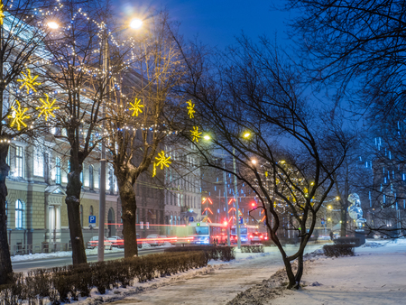 NIght view of Riga street in Christmass time photo