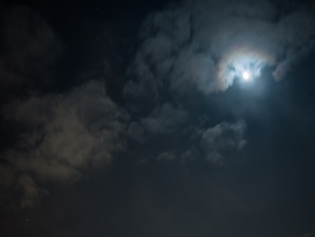 Night cloudy sky with stars and moon photo