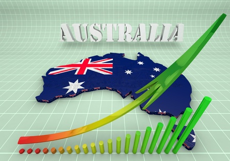 australasia: 3D Illustration of Australia and business graphics