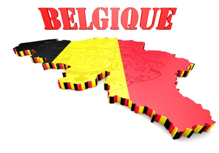 headquarter: 3D map illustration of Belgium with flag and coat of arms