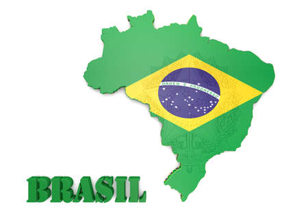 brasilia: 3D map illustration of Brazil with flag and coat of arms Stock Photo
