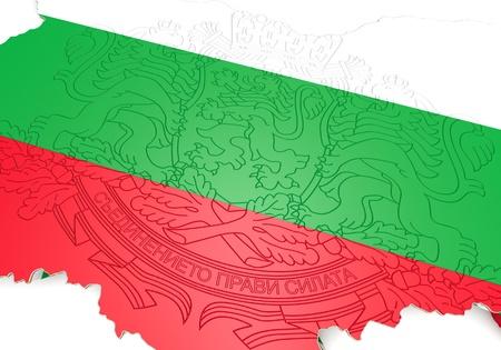 Carte 3d illustration de la Bulgarie avec le drapeau et des armoiries