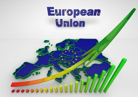 european countries: Map of European countries business 3d illustration Stock Photo