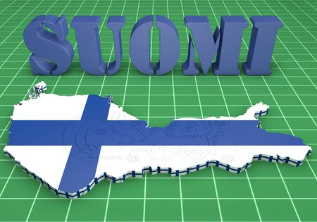3D map illustratin of Finland with flag and coat of arms photo