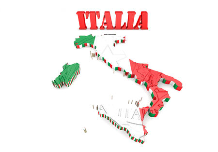 3D Map illustration of Italy with flag illustration