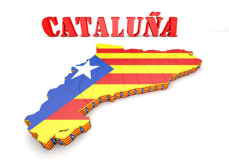 3d map illustration of Catalonia with flag and coat of arms Stock Photo