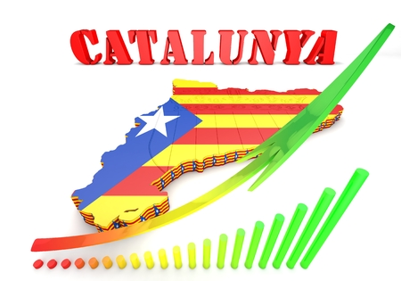 catalonian: 3d map illustration of Catalonia with flag and coat of arms Stock Photo