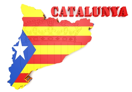 catalonia: 3d map illustration of Catalonia with flag and coat of arms Stock Photo