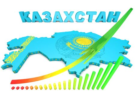 eurasian: 3d map illustration of Kazakhstan with flag and coat of arms