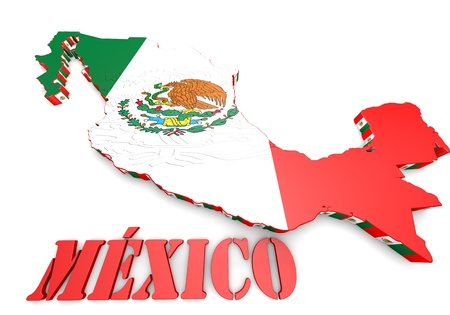 guadalajara: 3d map illustration of Mexico with flag and coat of arms