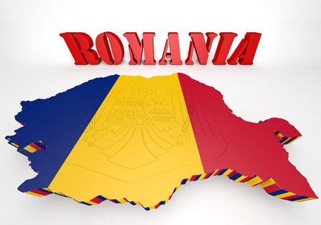 3D Map illustration of Romania   with flag and coat of arms Stock Photo