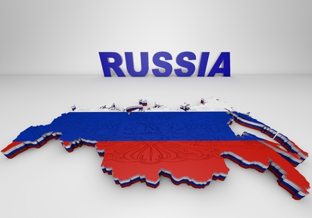 russia map: 3D illistration of Russia map with flag Stock Photo