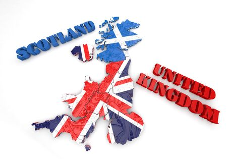 british isles: 3D map illustration of Scotland and England with flag