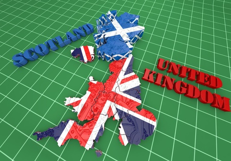 3D map illustration of Scotland and England with flag