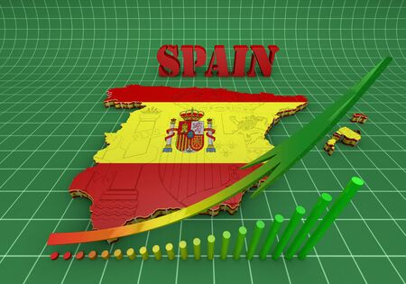 majorca: 3D map illustration of SPAIN with flag Stock Photo